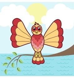 fantastic bird on a branch vector image vector image