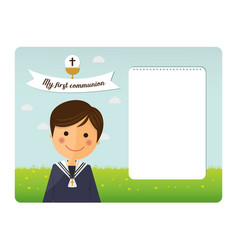 first communion child foreground invitation vector image vector image