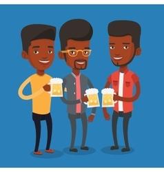 Group of friends enjoying beer at pub vector image