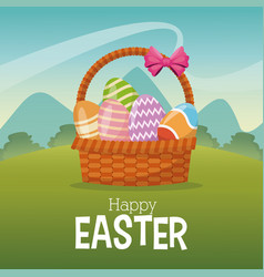 happy easter card basket egg landscape vector image