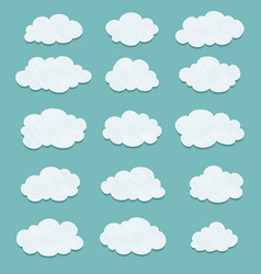 set of lined drawing clouds vector image vector image