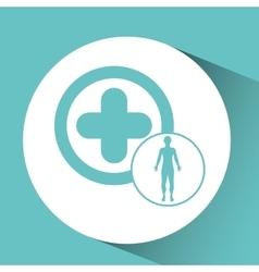 silhouette man health icon cross vector image vector image
