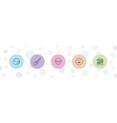 5 cartoon icons vector image