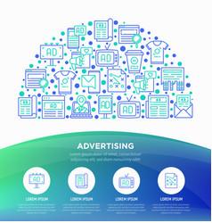 Advertising concept in half circle vector