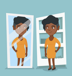 african woman trying on dress in dressing room vector image