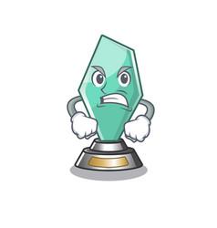 Angry acrylic trophy mascot on a cartoon vector