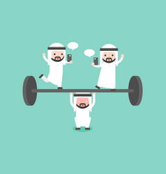 Arab businessman try to weigh lifting barbell vector