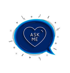 Ask me line icon sweet heart sign valentine day vector