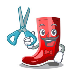 Barber rubber boots in a agricultural cartoon vector