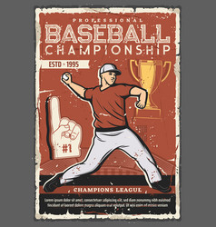baseball ball player trophy cup stadium field vector image