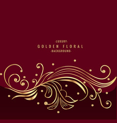 Beautiful golden floral design in red background vector