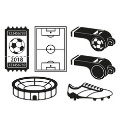 black anf white 6 element soccer silhouette set vector image