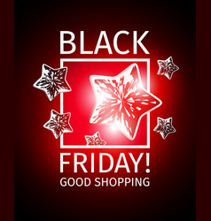 Black friday banner with flying stars vector