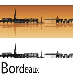 Bordeaux skyline in orange background vector