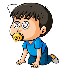 Boy toddler with dizzy eyes vector
