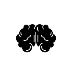 brain black icon sign on isolated vector image