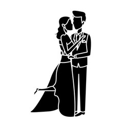 Bride and groom embracing affection wedding vector