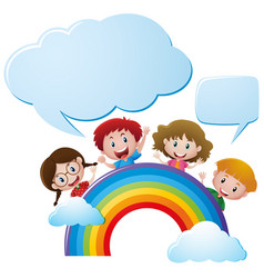 bubble templates with children over the rainbow vector image