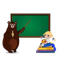 cartoon bear teacher and school girl sitting on vector image