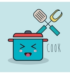 cartoon pot and fork spatula facial expression vector image