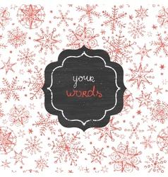 Chalkboard snowflakes frame seamless pattern vector