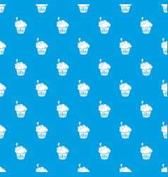 cherry cupcake pattern seamless blue vector image