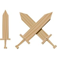 Children wooden swords vector image