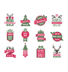 christmas sale tags badges holidays best offers vector image