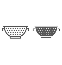 Colander line and glyph icon kitchen and cooking vector