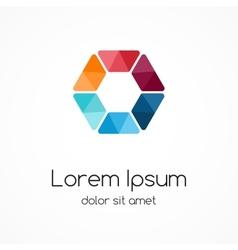 Color logo template hexagon element symbol vector