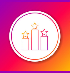 Color ranking star line icon isolated on color vector