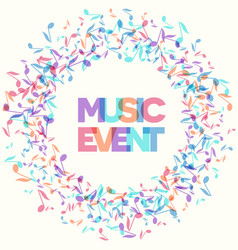 colorful music event notes background vector image