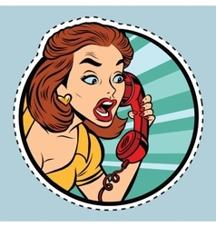 Comic woman talking on retro phone vector