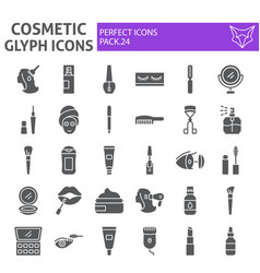 cosmetic glyph icon set makeup symbols collection vector image