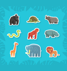 cute jungle animals stickers rhino orangutan vector image