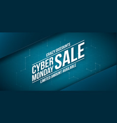Cyber monday sale crazy discounts banner vector
