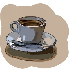 Digital painted cup of coffee vector