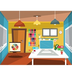Empty Office Room Studying Room Cartoon vector