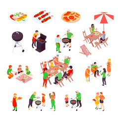 Family barbecue picnic isometric icons vector