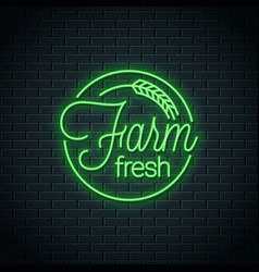 farm fresh neon logo farm eco produce neon stamp vector image