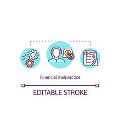 Financial malpractice concept icon vector