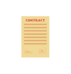 flat contract paper document isolated icon vector image