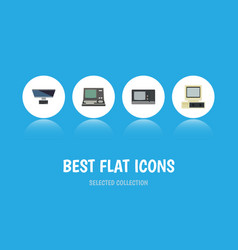 Flat icon computer set of pc technology computer vector