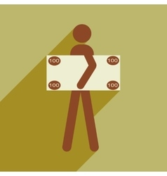 Flat with shadow icon People and dollar vector image