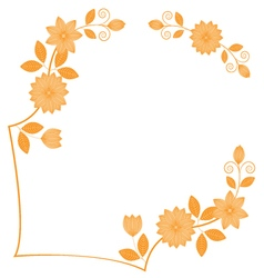Frame hand drawing florals vector