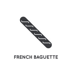 french bread baguette glyph element or icon vector image