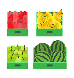 Fruit market with banana and watermelon boxes vector