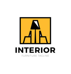 Furniture interior logo with chair and old lamp vector