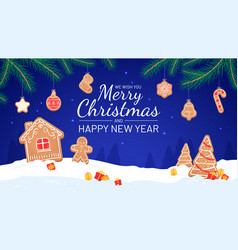 gingerbread background merry christmas and new vector image