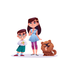 Girl and boy with dog pet cartoon style characters vector